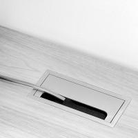Pasacables rectangular Quadrum Emuca para encastrar de aluminio anodizado mate
