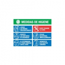 Cartel PVC Covid-19 medidas higiene 70x50cm MEPLASJAR