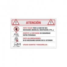 Lonal PVC Covid-19 medidas atencion 70x50cm MEPLASJAR