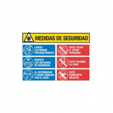Lonal PVC Covid-19 medidas seguridad 70x50cm MEPLASJAR