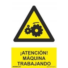 """Señal adhesivo """"Atencion maquina trabajando"""" vinilo 100x150m NORMALUZ"""