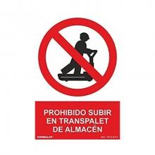 """Señal adhesiva """"Prohibido subir al transpalet"""" 100x150mm NORMALUZ"""