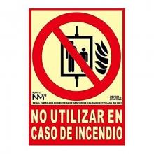 Señal NO UTILIZ.CASO INCENDIO clase A 200x250 PVC LUMIN. NORMALUZ