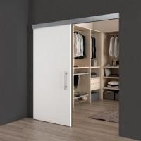 Emuca Sistema para puertas correderas colgadas de madera, con cierre suave, 80 kg, aluminio anodizado