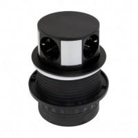 Emuca Regleta de 3 enchufes con 2 USB, de empotrar, retráctil, push, enchufe tipo Schuko, Acero y Plástico, Negro