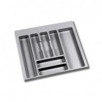 Emuca Cubertero para cajón de cocina, módulo 600 mm, Plástico, Gris