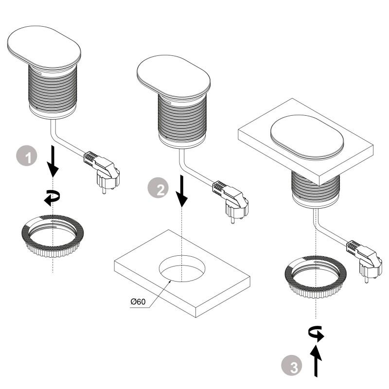 Emuca Regleta con tapa multienchufe con 1 enchufe schuko EU y 1 puerto USB torre de enchufes vertical empotrable para encimera de cocina o escritorio