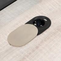 Emuca Regleta de 1 enchufe con 1 USB, de empotrar, con tapa, enchufe tipo Schuko, Acero y Plástico, Inox