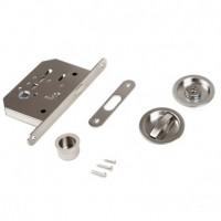 Emuca Kit de cerradura con condena redonda para puerta corredera, acero, níquel satinado.