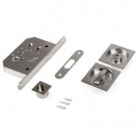 Emuca Kit de cerradura con condena cuadrada para puerta corredera, acero, níquel satinado.