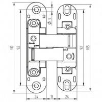 Emuca Bisagras ocultas para puertas de paso, carga 80 Kg, apertura 180º, zamak, gris metalizado, 2 ud.
