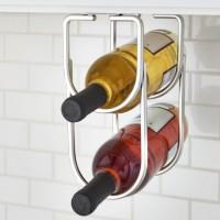 Emuca botellero para mueble, fijación bajo estante, 2 huecos, acero, cromado.