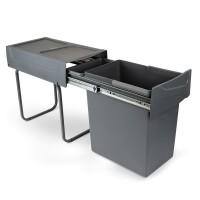 Emuca Contenedor de reciclaje de 20 L para cocina, fijación inferior, extracción manual, acero y plástico, gris antracita