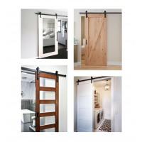Emuca Sistema para puertas correderas colgadas de madera, 80 Kg, acero, negro