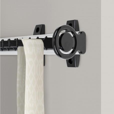 Emuca Corbatero lateral extraible para armario, Aluminio y plástico, anodizado mate y negro