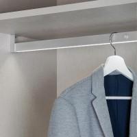 Emuca Barra para armario con luz LED, regulable 708-858mm, batería extraible, sensor de movimiento, Luz Blanca natural, Aluminio