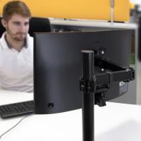 Emuca Soporte de monitor de 13 a 32 pulgadas para mesa, inclinable y giratorio 360º, hasta 8 kg, MAX VESA de 75x75mm-100x100