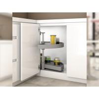 Emuca juego bandejas giratorias mueble de cocina, 180º, módulo 800 mm, Plástico, Blanco