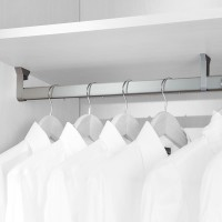 Emuca Barra de armario con goma, ovalada, 30x15 mm, 1.400 mm, Aluminio, Anodizado mate, 2 ud.
