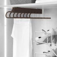 Emuca Pantalonero extraible para armario, montaje izquierda, Acero y plástico, color moka