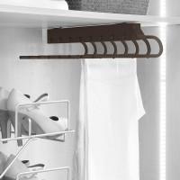 Emuca Pantalonero extraible para armario, montaje derecha, Acero y plástico,color moka