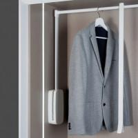 Emuca Colgador abatible para armario, regulable 450-600 mm, hasta 12 Kg, Acero, Blanco