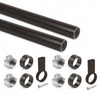 Emuca Kit de barra para armario redonda D. 28, 1150 mm, aluminio, Pintado moka