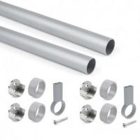Emuca Kit de barra para armario redonda D. 28, 1150 mm, aluminio, Anodizado mate