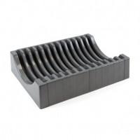 Emuca Organizador de platos para muebles, capacidad para 13 platos, plástico, gris antracita.